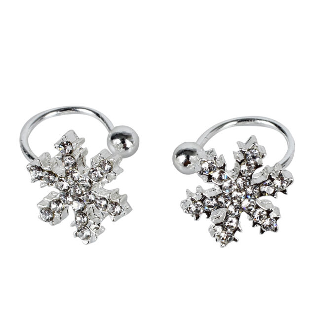 New Exquisite Super Cute Comfy Clip On Snowflake Crystal Studs Stud Earrings Ad