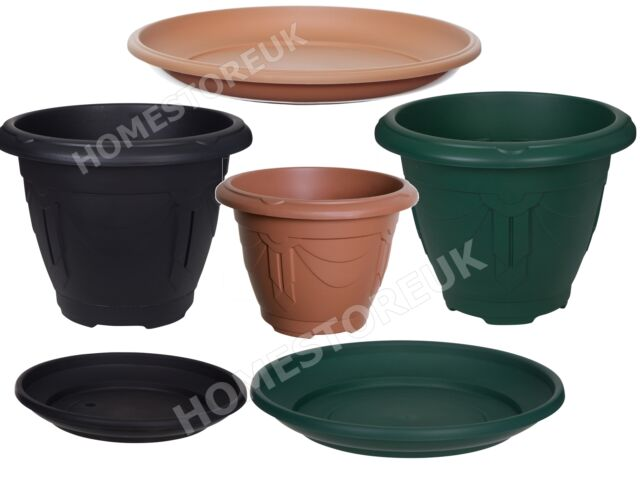 VENETIAN PLASTIC ROUND PLANTER POT / SAUCER WATER BASE TRAY PLANT OUTSIDE GARDEN