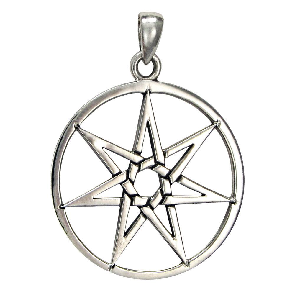 Large sterling silver septagram heptagram fairy faerie star pendant picture 1 of 1 aloadofball Gallery