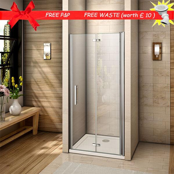 Frameless 800x760mm Bi Fold Shower Door Enclosure Tray Side Panel