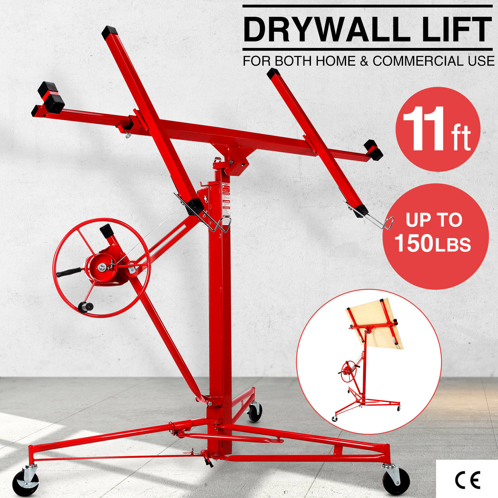 11\' Drywall Rolling Lifter Panel Hoist Jack Caster Construction ...