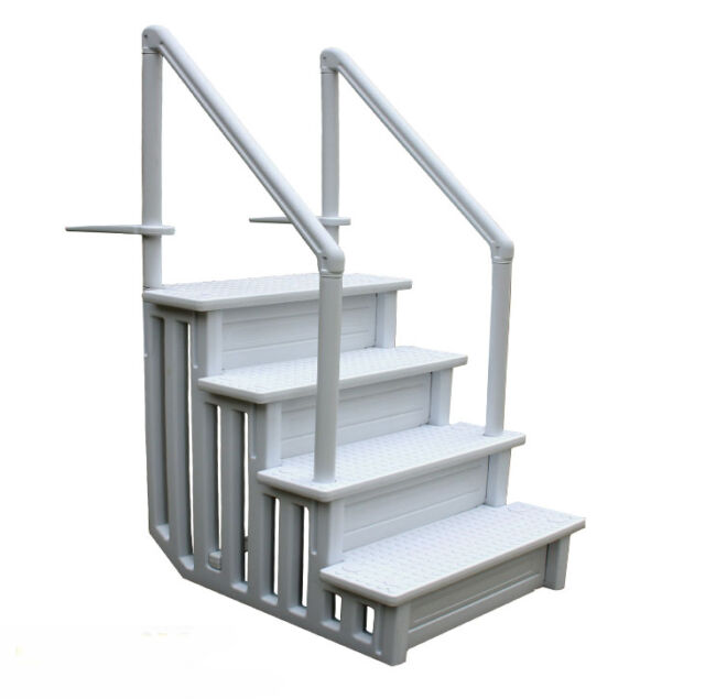 above ground pool ladder heavy duty white non slippery step system with handle - Above Ground Pool Ladder