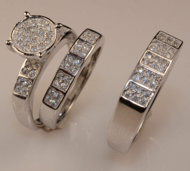 Ladies 14k White Gold Diamond Trio Bridal Set Wedding Ring eBay