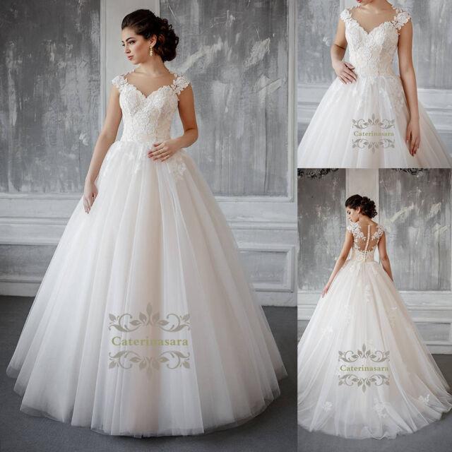 Magic French Lace Wedding Dress Illusion V Neck a Line Cap Bridal ...