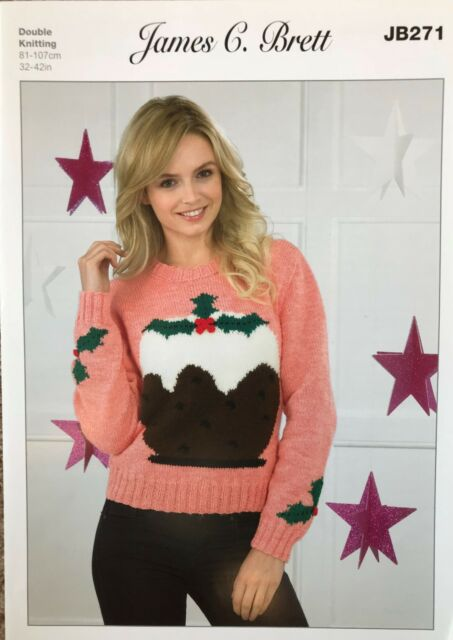 James C Brett Christmas Pudding Ladies Jumper Knitting Pattern Dk