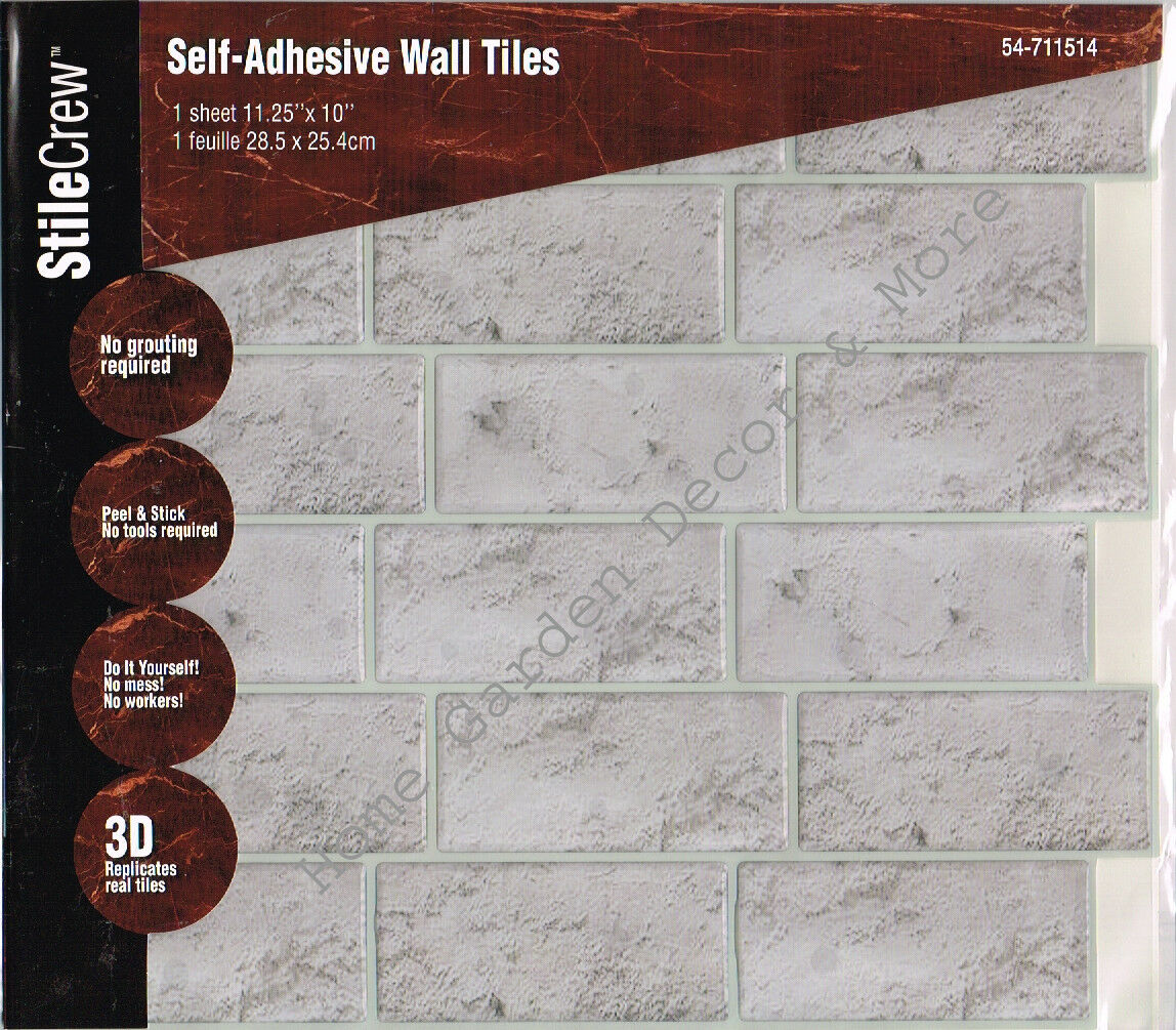 Peel Stick Wall Tile Kitchen Bathroom Backsplash Natural Gray Stone ...