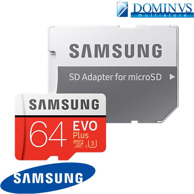 Memoria Originale Samsung Micro SD EVO Plus Classe 10 da 64 Gb Adapter 4K HD U3