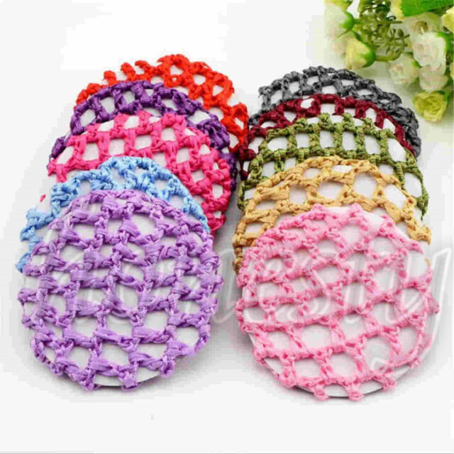 5pcs Women Bun Cover Snood Hair Net Ballet Dance Skating Crochet
