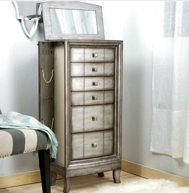 Antique Jewelry Armoire Vintage Chest Silver Honey Wood Tall Storage