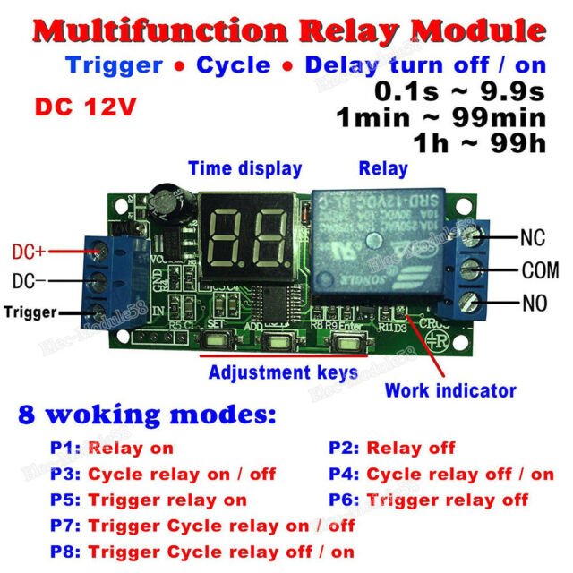 Dc 12v Timer Relay Switch Turn On  Off Module Digital Led Cycle Delay Time Timing