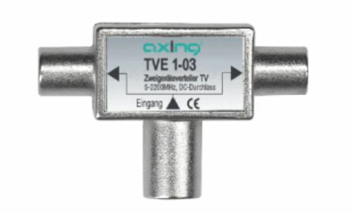 Verteiler TVE 1-03 1 Kupplung/2 Stecker, AXING Zweigeräteverteiler TV