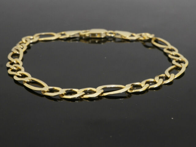 hollow mens figaro mm gold bracelet inch link yellow real