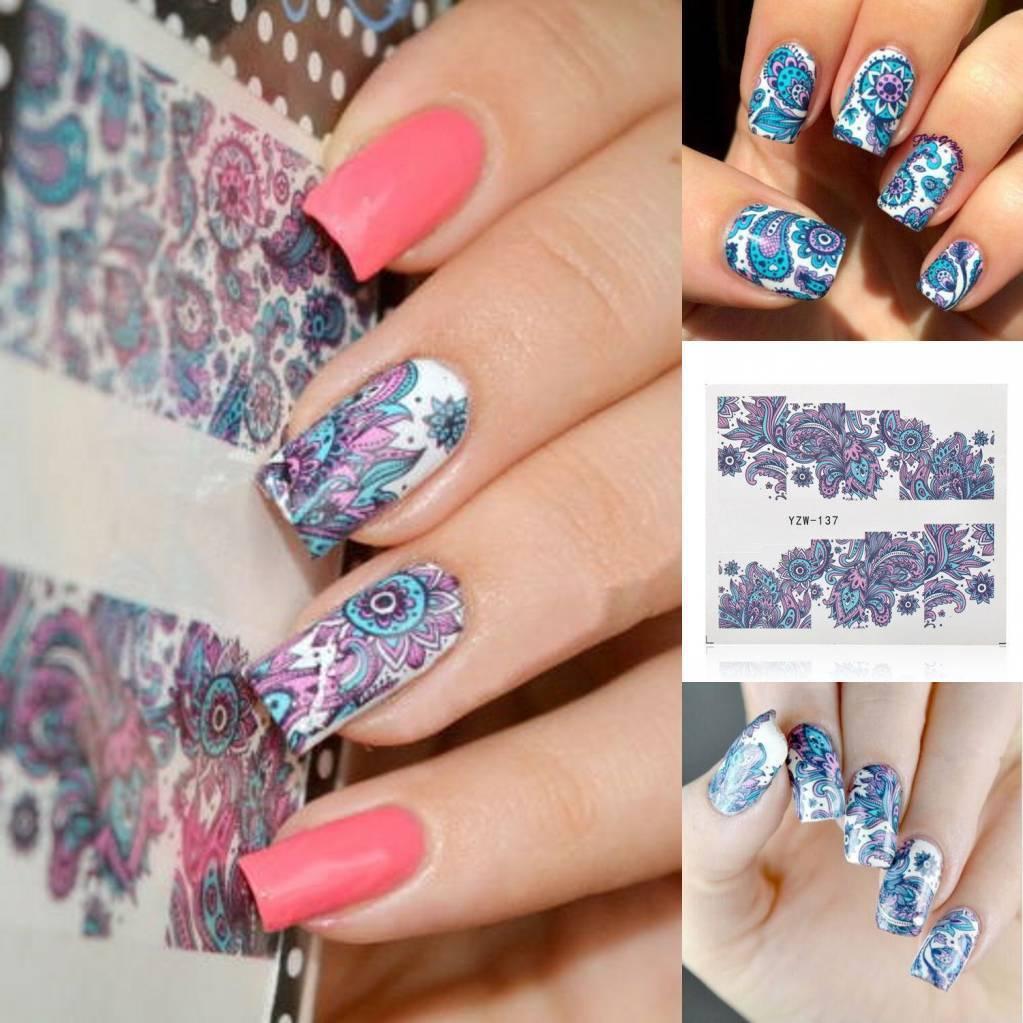 Nail Art 3d Sticker Water Transfer Stickers Blue Flower Decals Tips ...