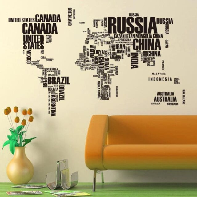 Large world map country name wall sticker decal home living large world map country name wall sticker decal home living nursery decor diy gumiabroncs Images