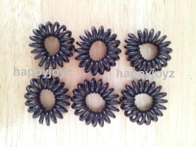 6 Black Hair ties School Ponytail Holders Phone cord spiral elastic hairband 3cm