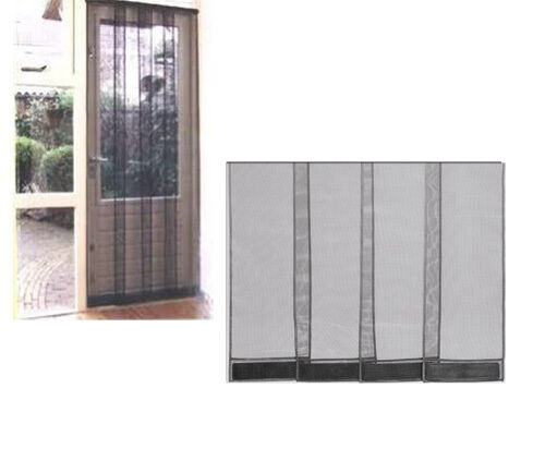 INSECT FLY SCREEN WASP PATIO DOOR DRAUGHT CURTAIN BLACK 1m wide 215cm drop