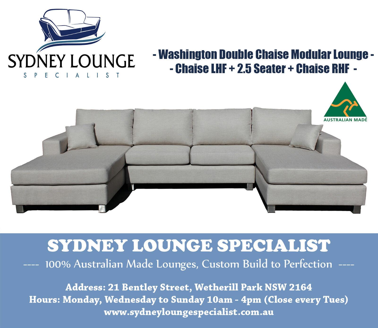 Aus Made Washington U shape 3 Pcs Chaise Modular Lounge Couch Sofa