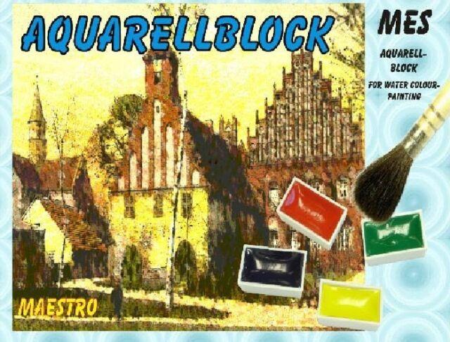 Aquarellblock Aquarellpapier 5 versch. Formate á 10 Blatt Papier für Aquarell