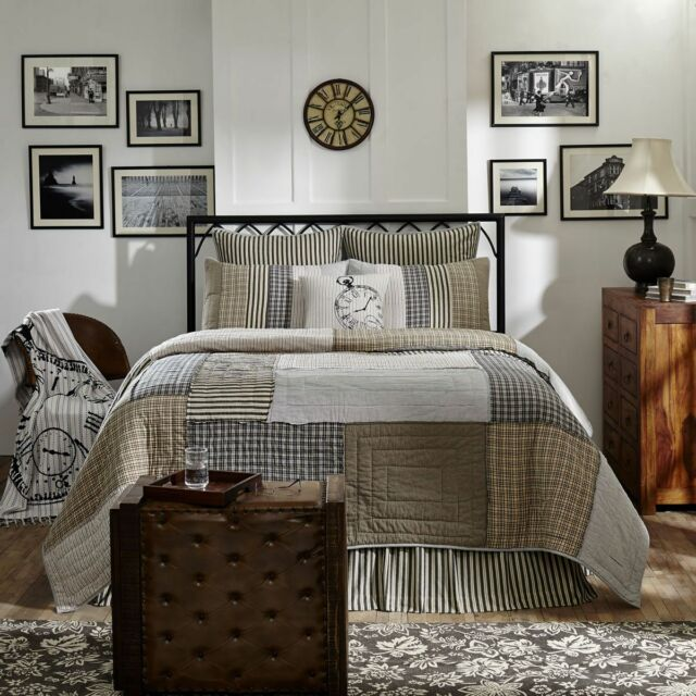 Patchwork Quilt Bedding King Size Quilts 3pc Ashmont Plaid Stripe ... : king size quilt - Adamdwight.com