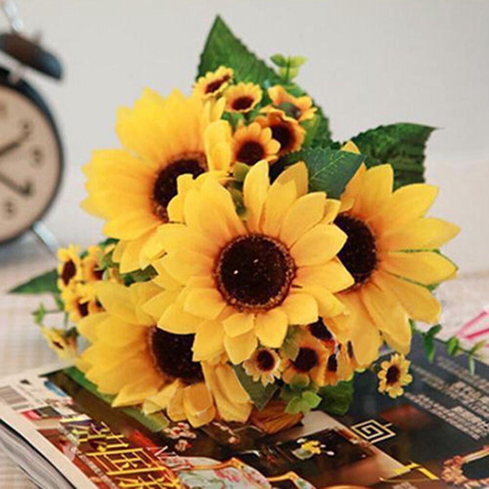 7heads fake sunflower artificial silk flower bouquet home yard picture 1 of 9 mightylinksfo