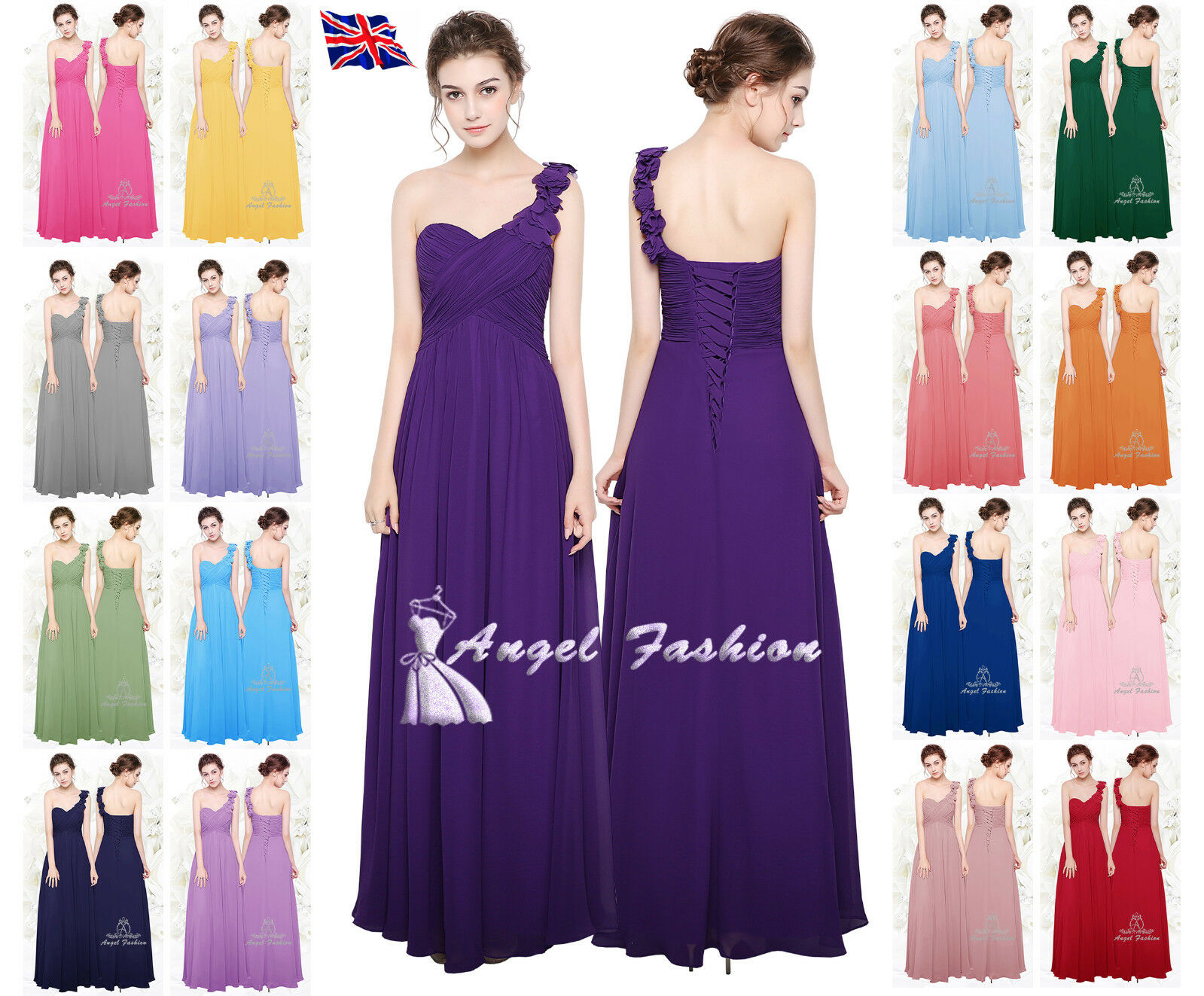UK Chiffon Formal Evening Prom Cocktail Party Ball Gown Bridesmaid ...