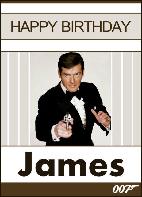 007 James Bond Roger Moore More Personalised Birthday Card Any – James Bond Birthday Cards