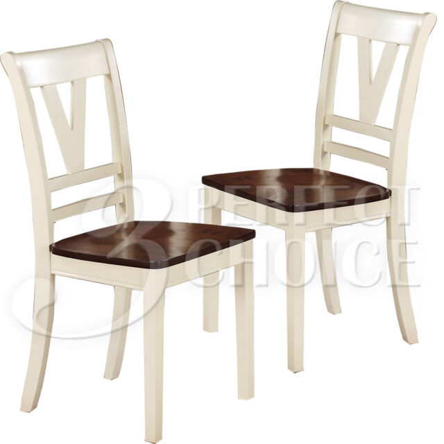 Set Of 2 Dining Side Chairs Cherry Wooden Seat 2 Tone Cut Out Back