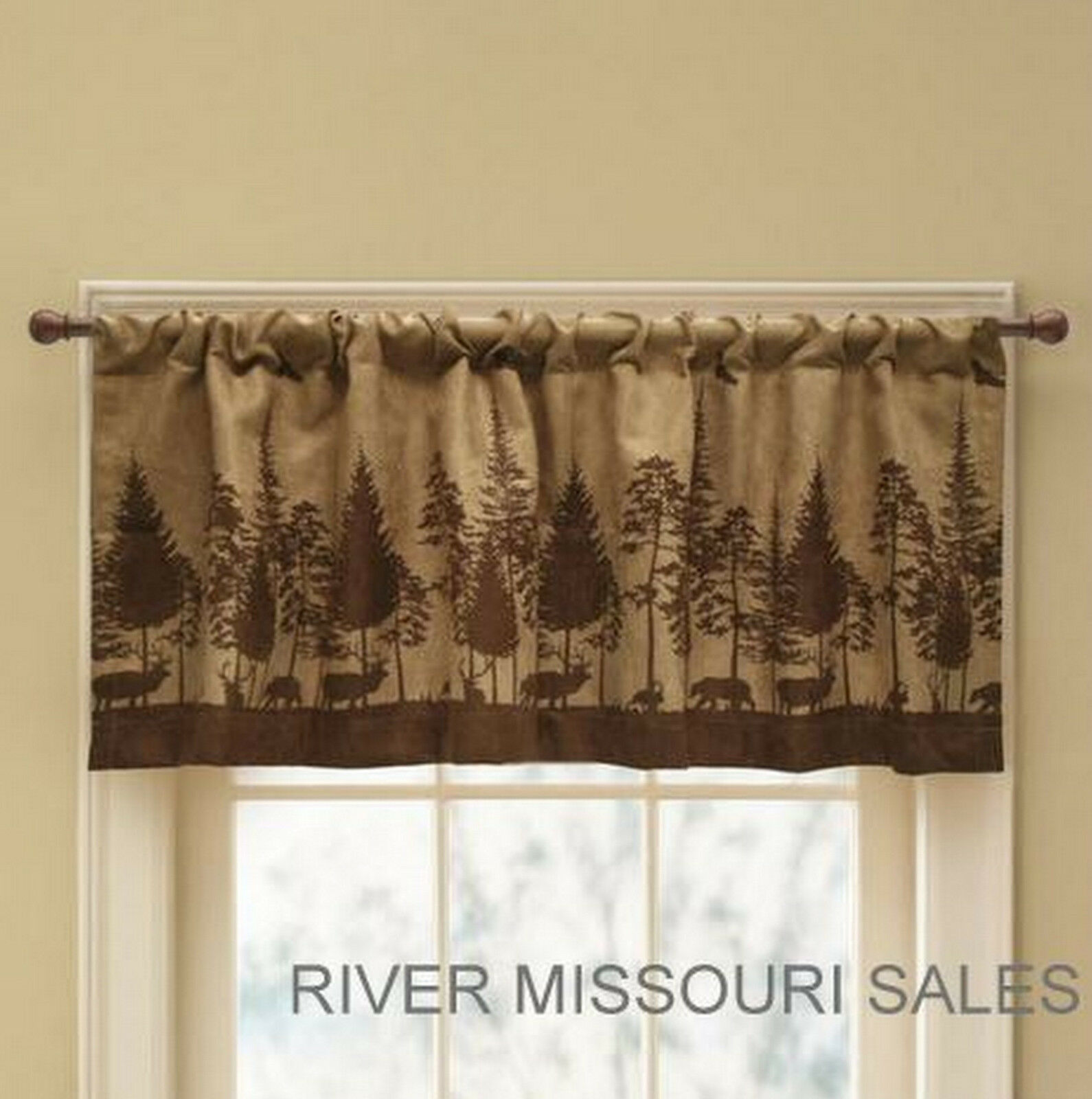 Beautiful Cabin Pine Lodge Wildlife Window Valance, Rich Browns, Modern Rustic 52