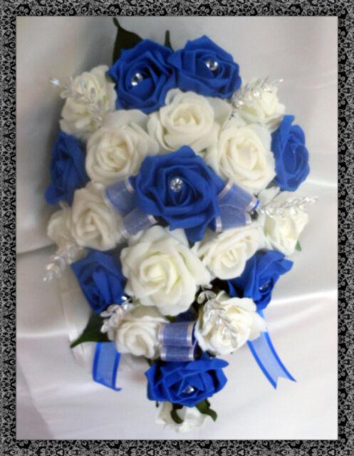 Brides Teardrop Bouquet Wedding Flowers Ivory & Royal Blue Roses | eBay