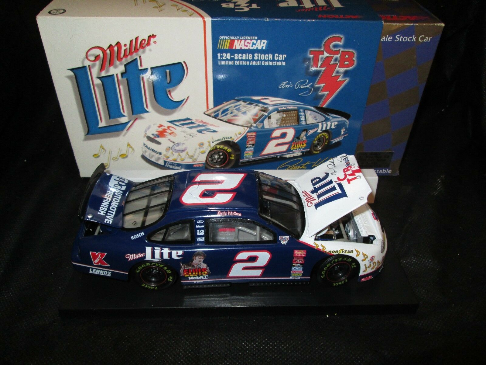 Action NASCAR 1 24 Car Rusty Wallace 2 Miller Lite TCB 1998 Ford