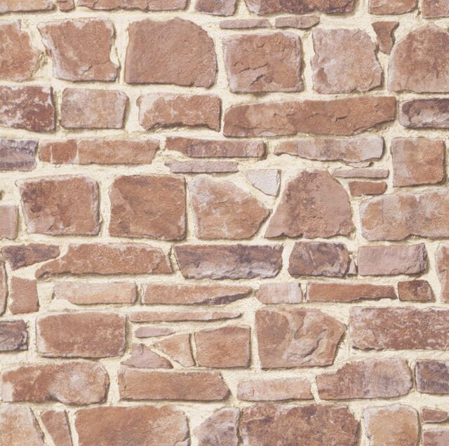 OLD RED BROWN STONE BRICK WALL EFFECT FEATURE DESIGN WALLPAPER 265613 RASCH