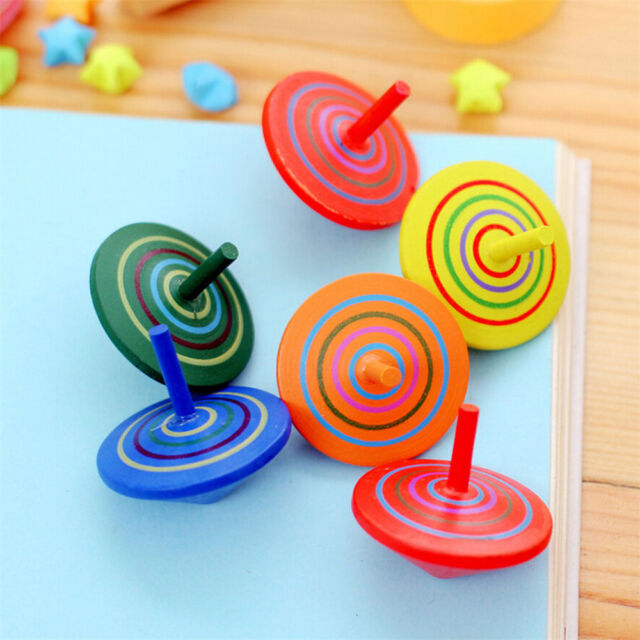 2x wooden gyro spinning top peg top cartoons multicolor kids