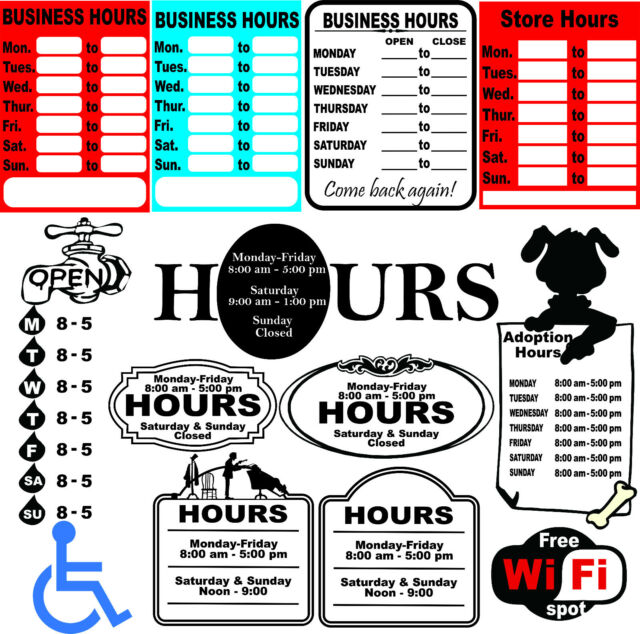 52 Business Hours Sign Templates Vector Clipart for Vinyl Cutter | eBay
