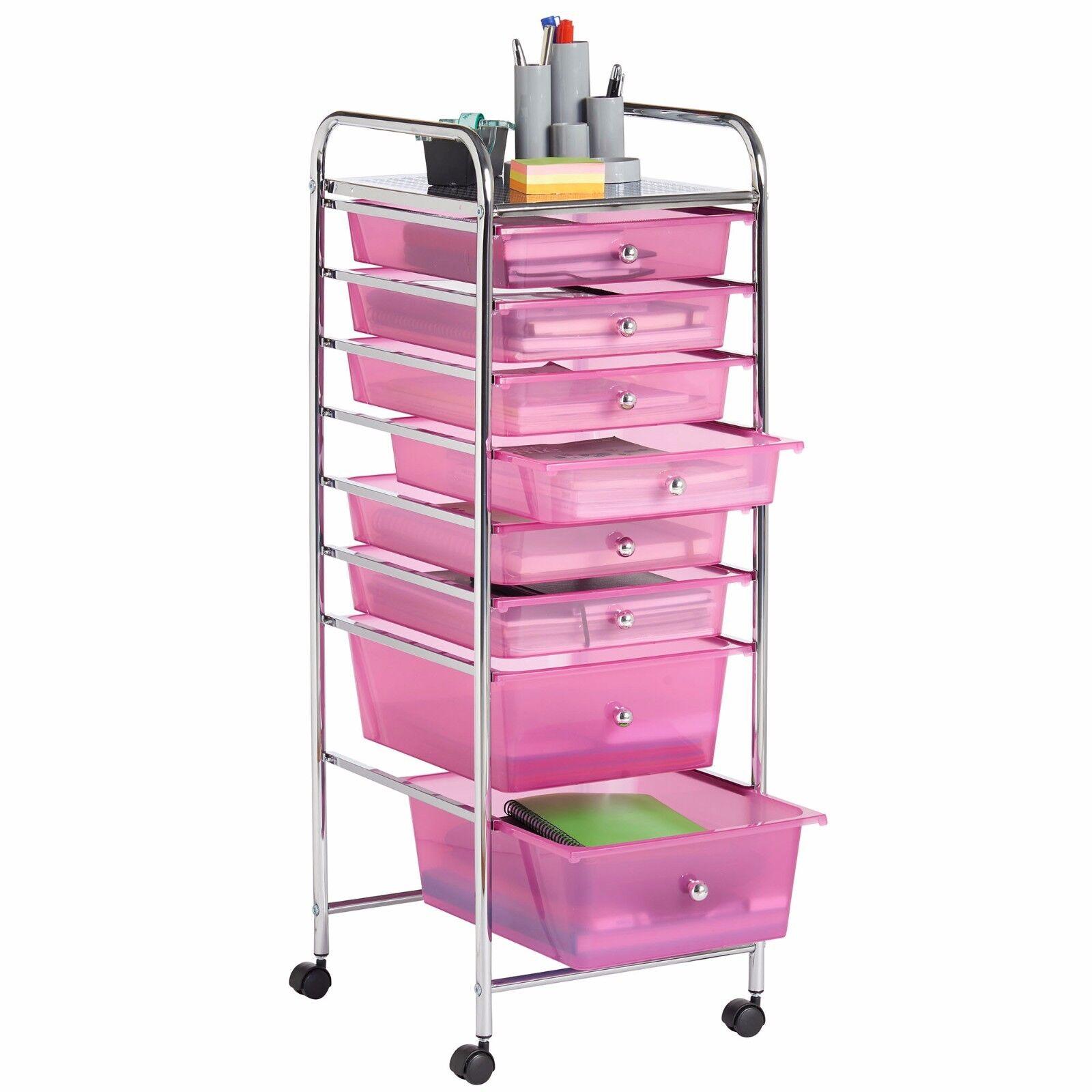 Uncategorized Pink Storage Cart vonhaus 8 drawer pink rolling trolley storage organizer utility picture 1 of 6
