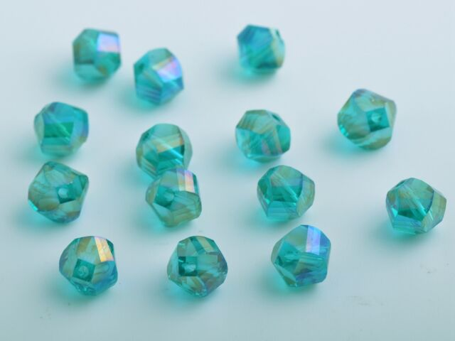 50pcs 8mm Twist Helix Glass Crystal Findings Loose Spacer Beads Peacock Green AB