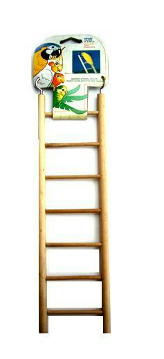 """Budgie Toy Wooden Ladder 7 Rung 11"""" Classic Budgie With Hooks  BA110 PENN PLAX"""