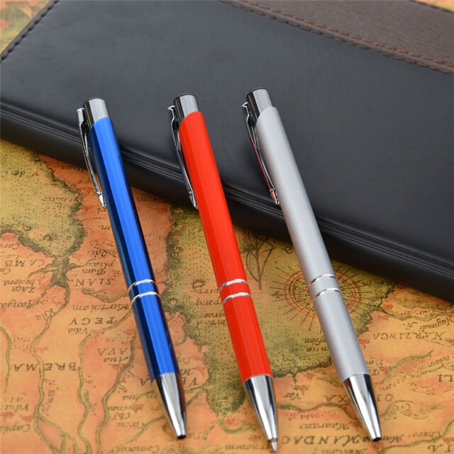High Quality Luxury Ball Point Pen Silver Metallic Clip Office Supplies Gifts