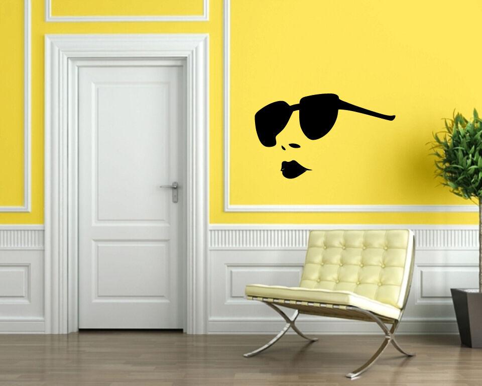 Hot Girl Full Lips Big Sunglasses Beauty Salon Decor Wall Mural ...