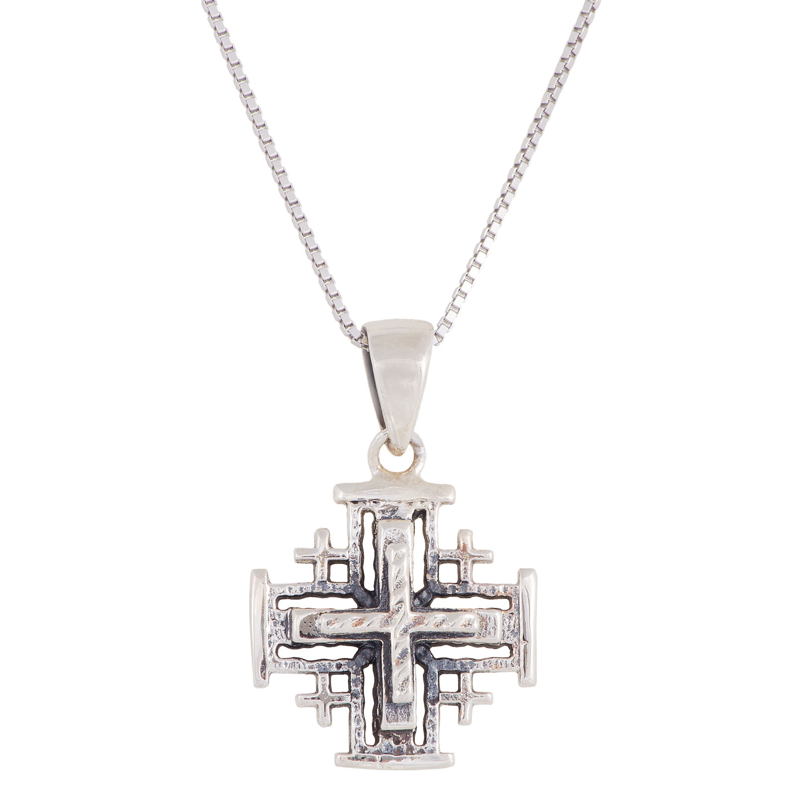 christmas house pendant jewelry product cross jerusalem silver