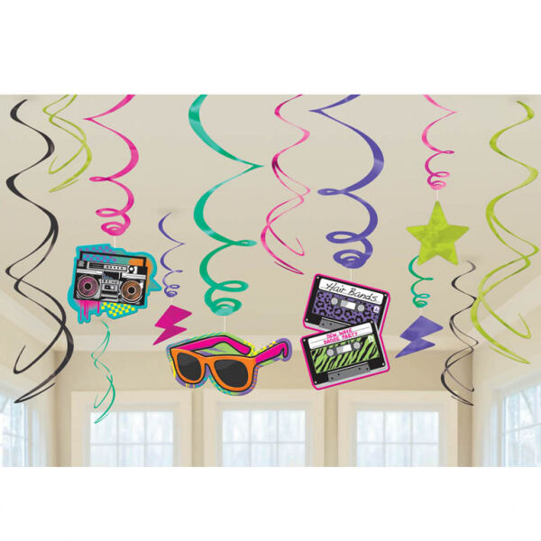TOTALLY 80'S PARTY HANGING DECORATION SWIRLS PACK OF 12 - RETRO ARCADE 80S