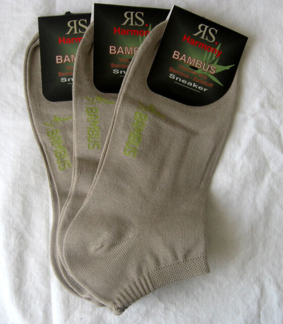 3 Pairs RS Sneaker Men Bamboo Socks with Soft rim beige 39 to 46