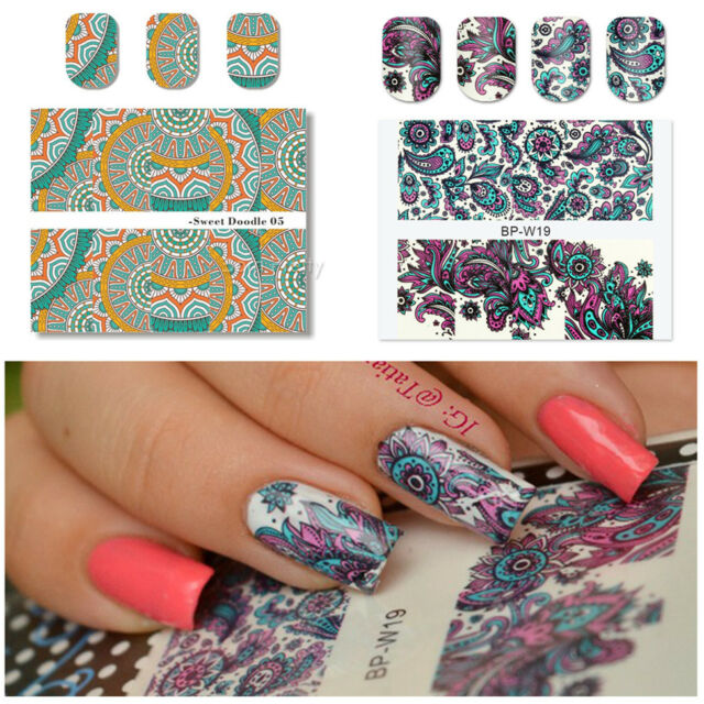 2 Sheets Nail Art Water Decals Transfer Stickers Flower DOODLE ...