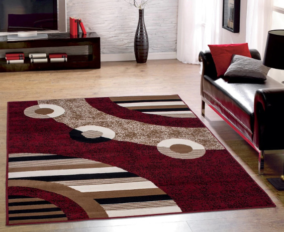 Red Black Modern Geometric Abstract Circles Design Area Rug 5 X 7 Living Room