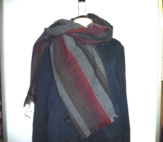 Coach 84082 Men S Grey Red Multicolor Variegated Stripe Wool Cashmere Scarf Ebay