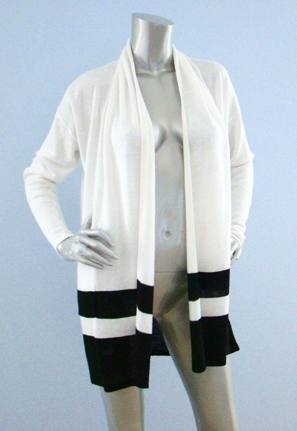 Lauren Ralph Lauren White Black Knit Border Stripe Open Cardigan ...