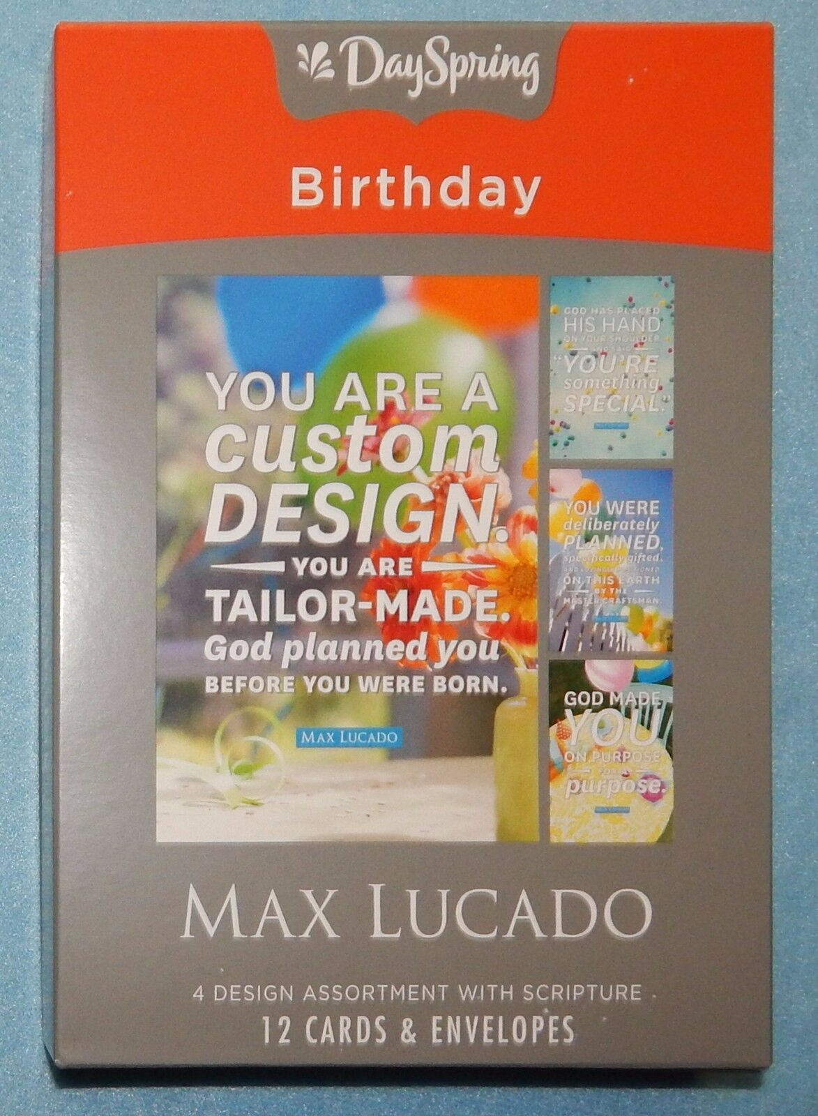 Dayspring birthday boxed greeting cards 12 count with embossed dayspring birthday boxed greeting cards 12 count with embossed envelopes max lucado god made you 53682 ebay kristyandbryce Choice Image
