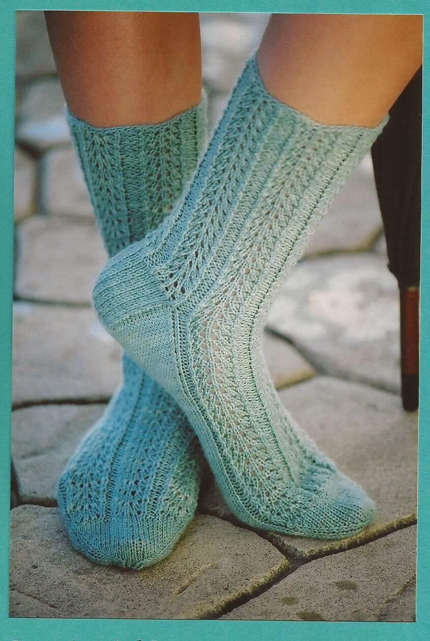 Raindrop lace socks fiber trends knitting pattern ac52 picture 1 of 2 dt1010fo