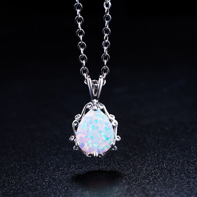 Oval natural australian opal pendant oval shape necklace white elegance australian fire pear opal rosewhite gold plated pendant necklace chain aloadofball Image collections