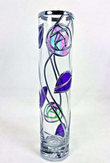 Rennie Mackintosh Style Handmade Rose Leaf Leaded Glass Vase Art