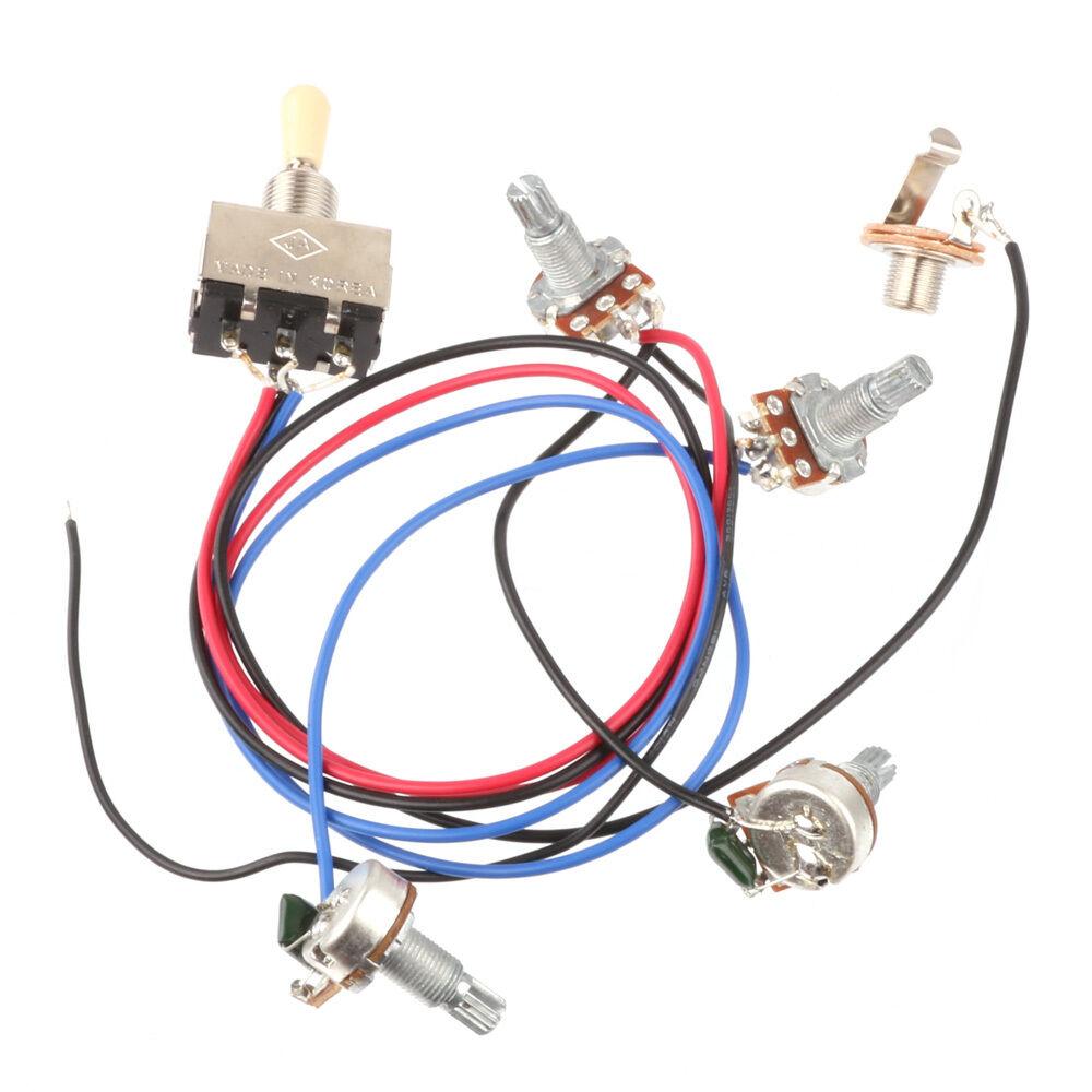 Wiring Harness 3 Way Toggle Switch 2v2t 500k Pots & Jack Les Paul LP ...